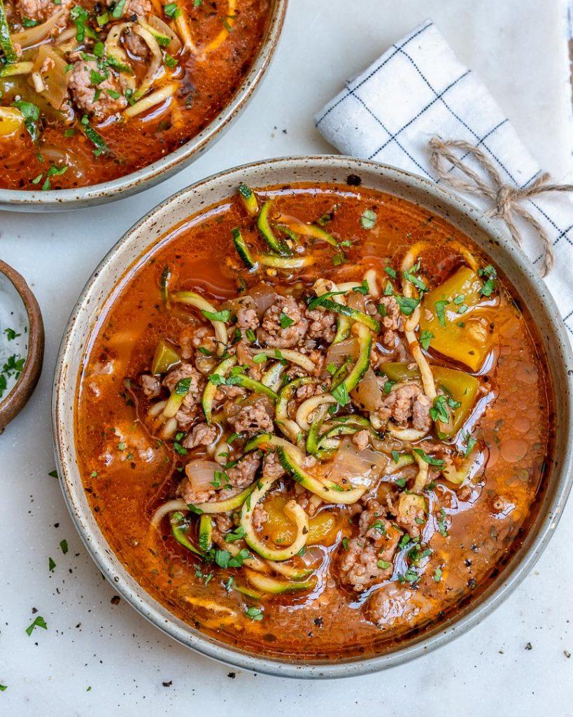 Zucchini Noddle Beef Lasagna Soup