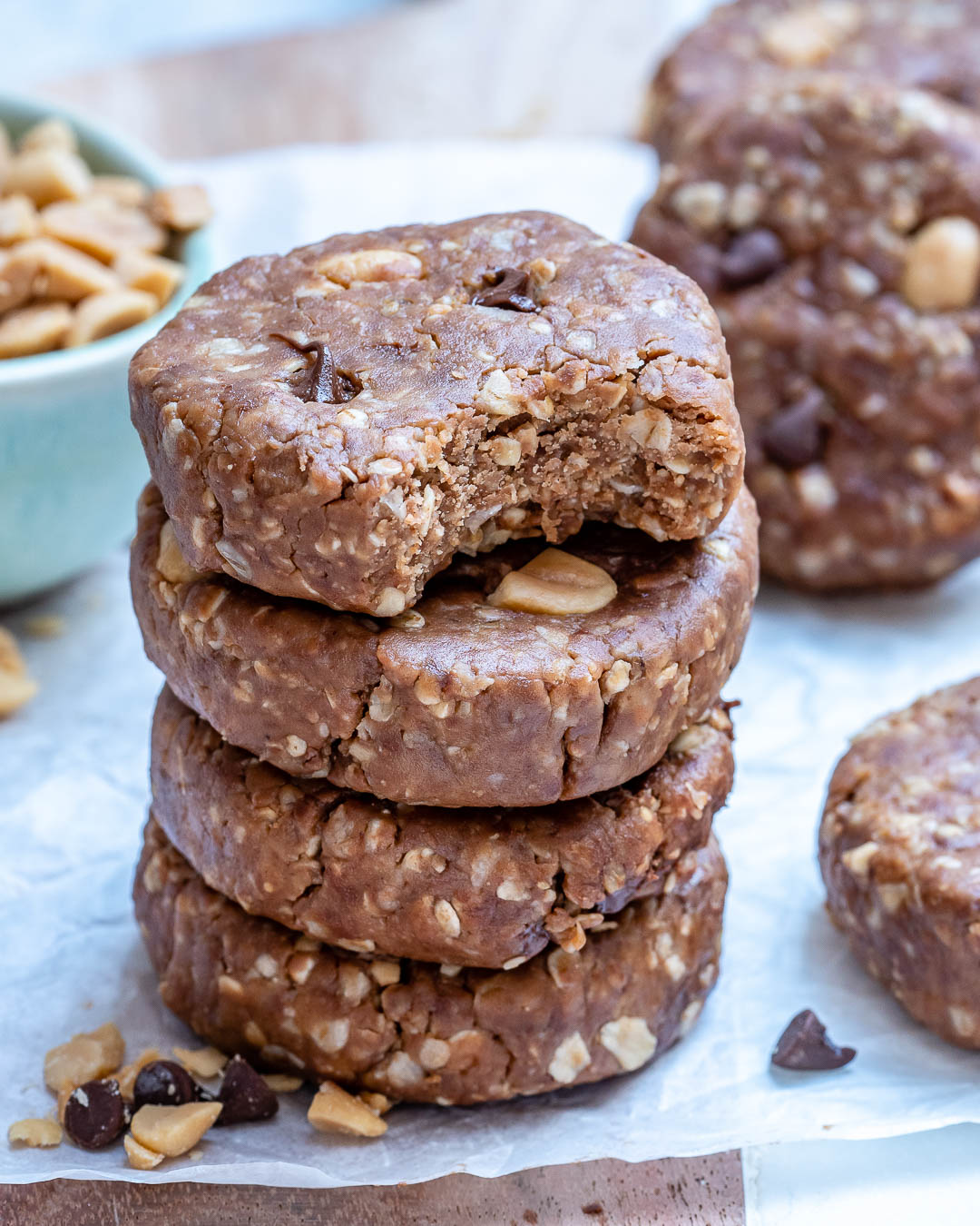 Healthy No Bake Chocolate Chip Peanut Butter Cookies Clean Food Crush
