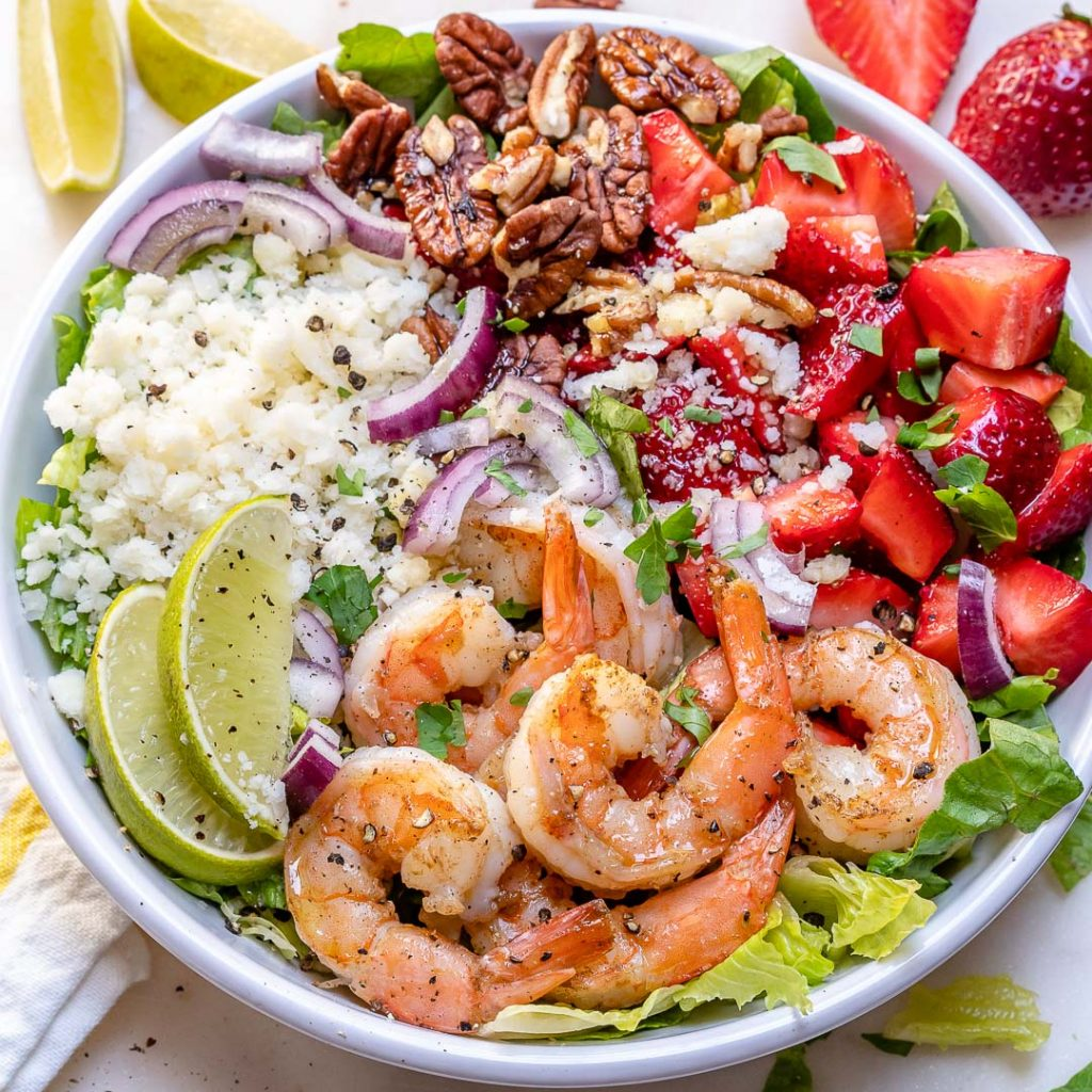 Eat Clean with this Beautiful Shrimp Salad with Fresh Strawberries!