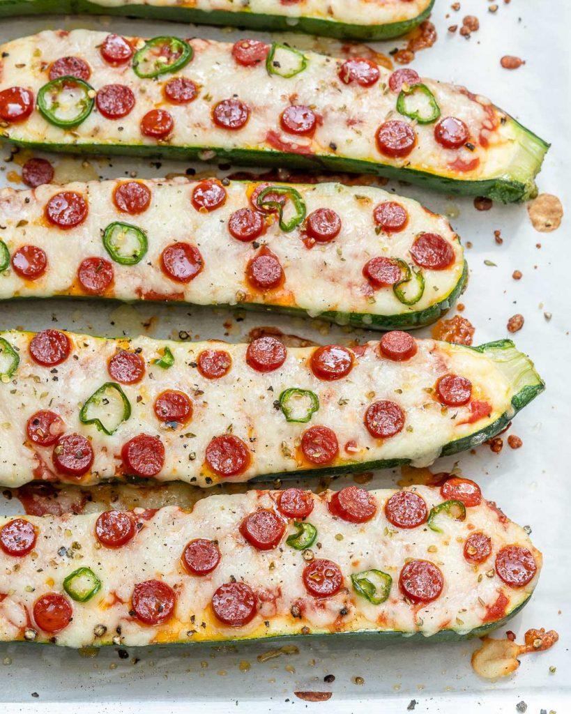 Spicy Zucchini Pizza Boats