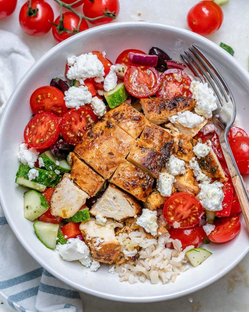 Greek Chicken + Rice Bowls