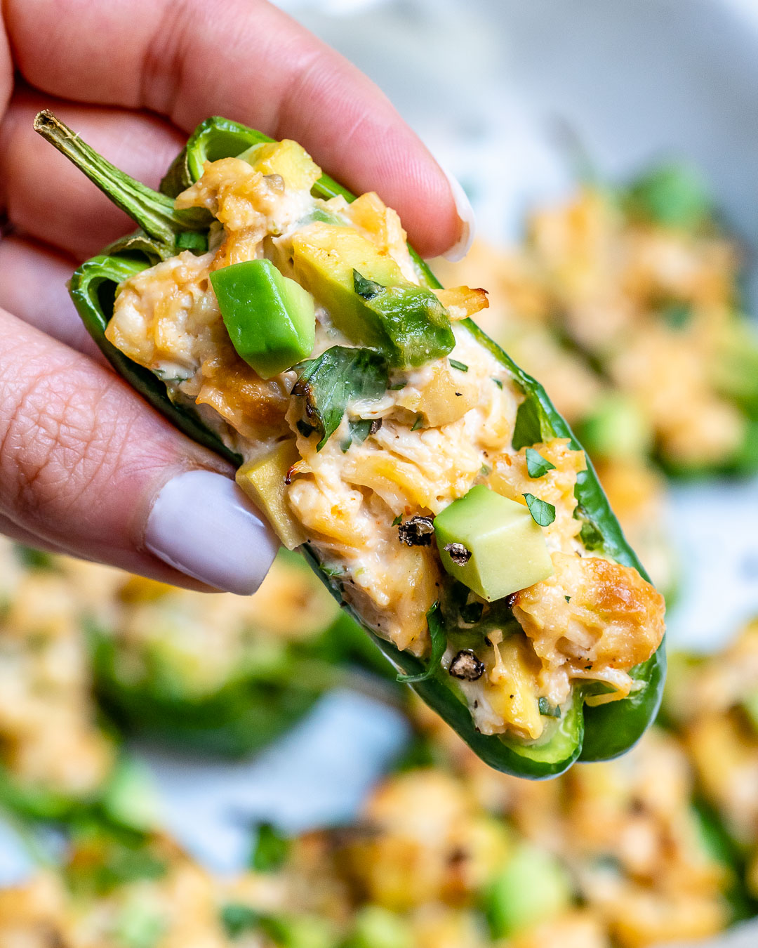 Buffalo-Lime Chicken Stuffed Anaheim Peppers