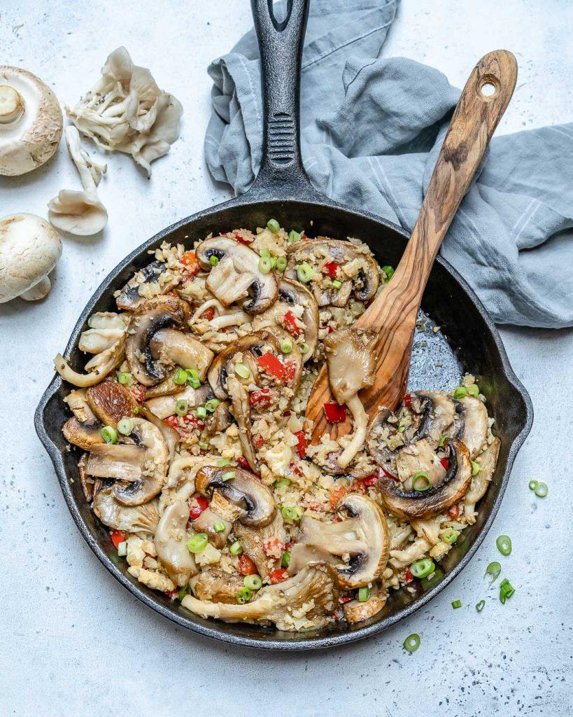 Mushroom Cauliflower Fried 'Rice' CleanFoodCrush