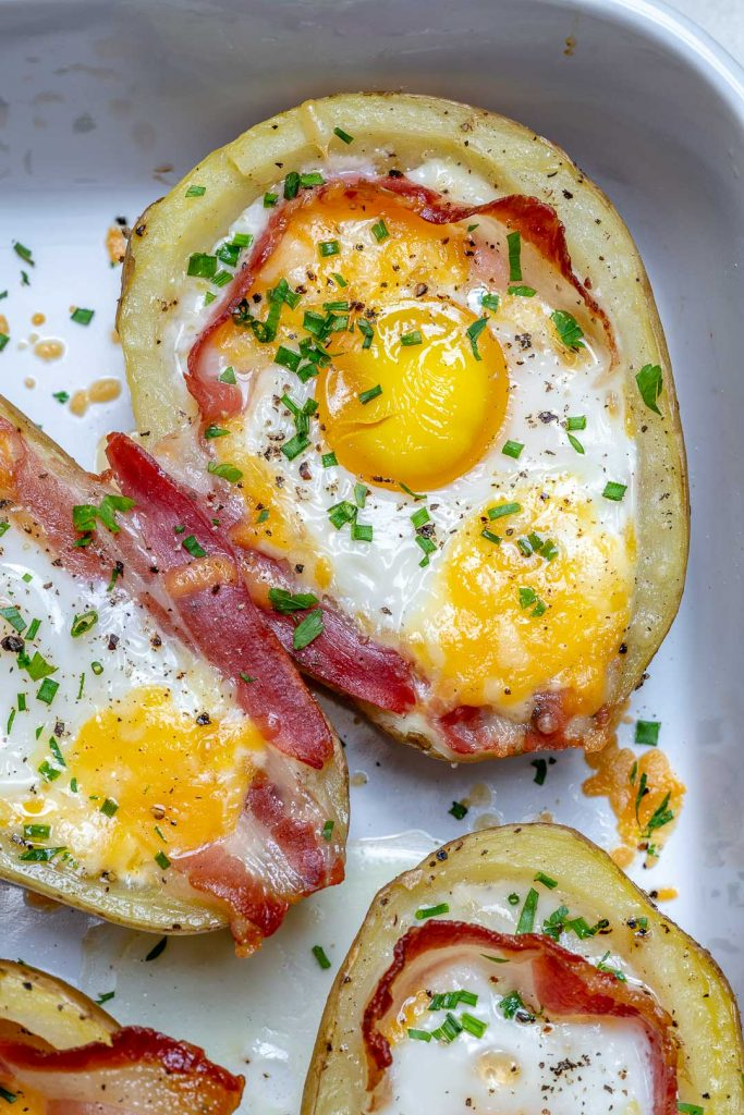 Double Baked Bacon + Egg Potatoes
