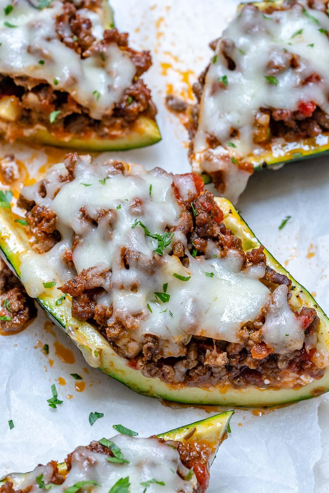Lasagna Stuffed Zucchini Boats