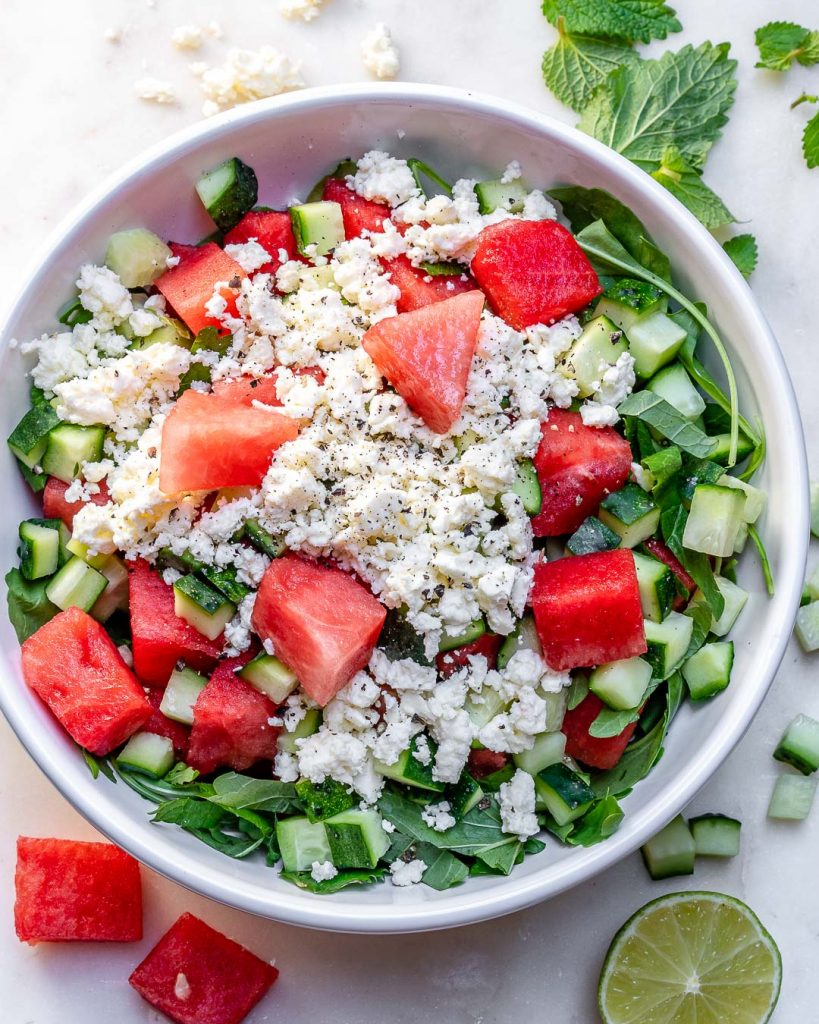 Eat Clean and Hydrate with this Watermelon + Feta Salad