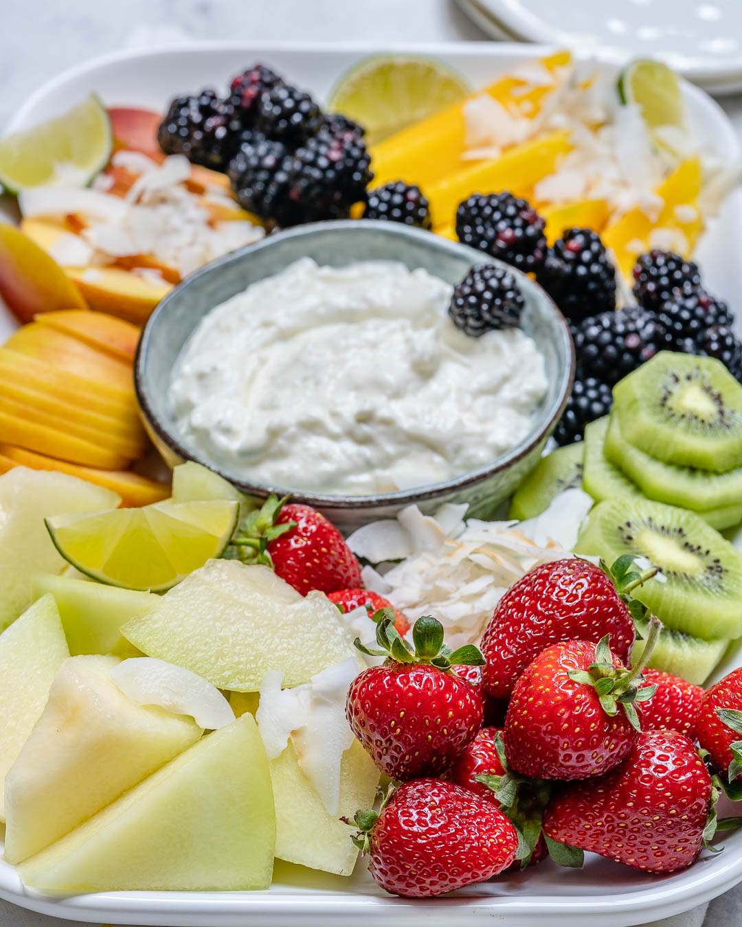 Crowd Pleasing Summer Fruit Platter with Coconut Lime Dip!