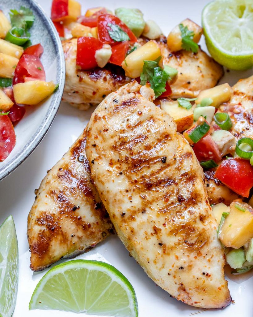 This Grilled Lime Chicken + Fresh Peach Salsa Recipe is Fantastic!