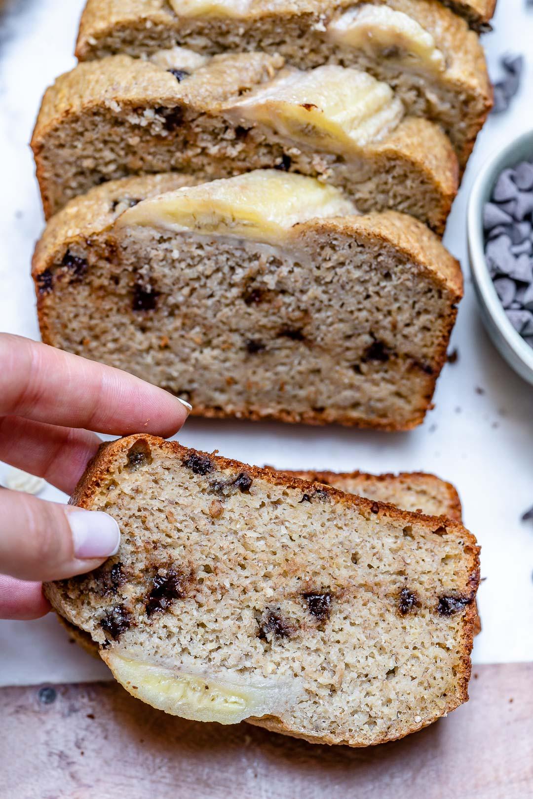 Clean Eating Chocolate Chip Blender Banana Bread Clean