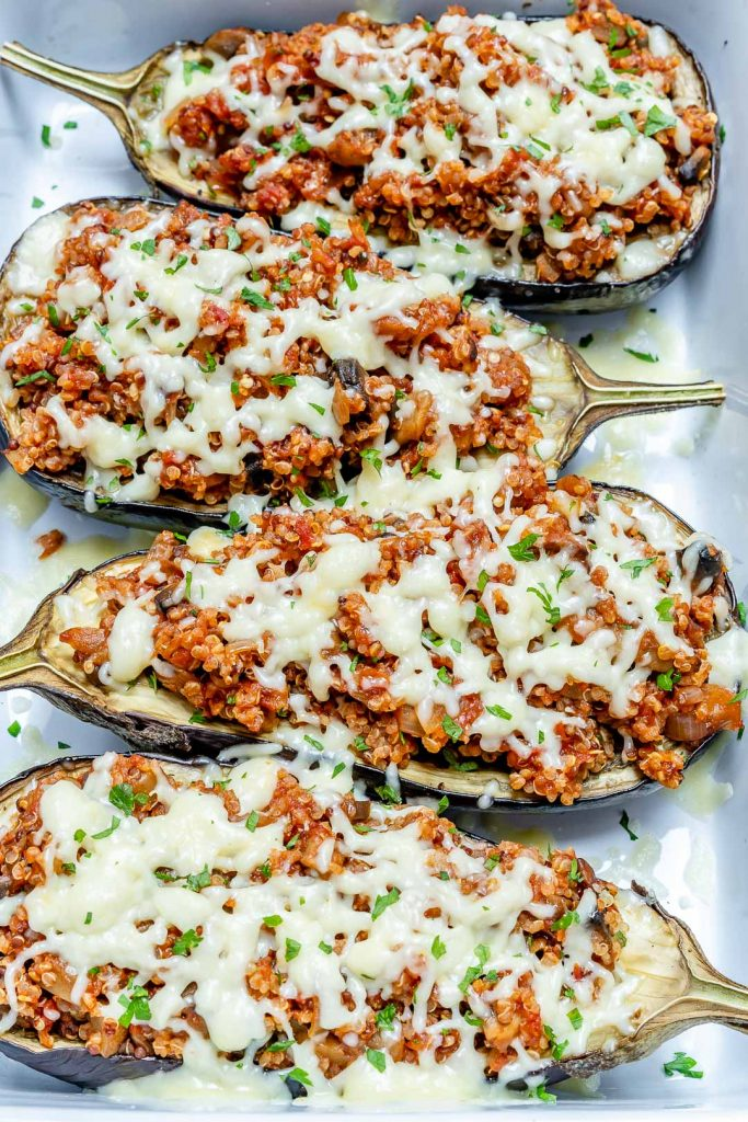 Quinoa Stuffed Eggplant Boats for a Creative & Healthy Meal Idea!