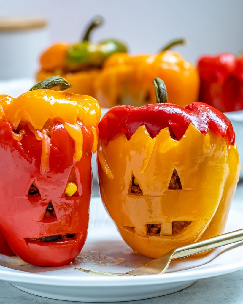 These Halloween Stuffed Peppers are the Cutest!