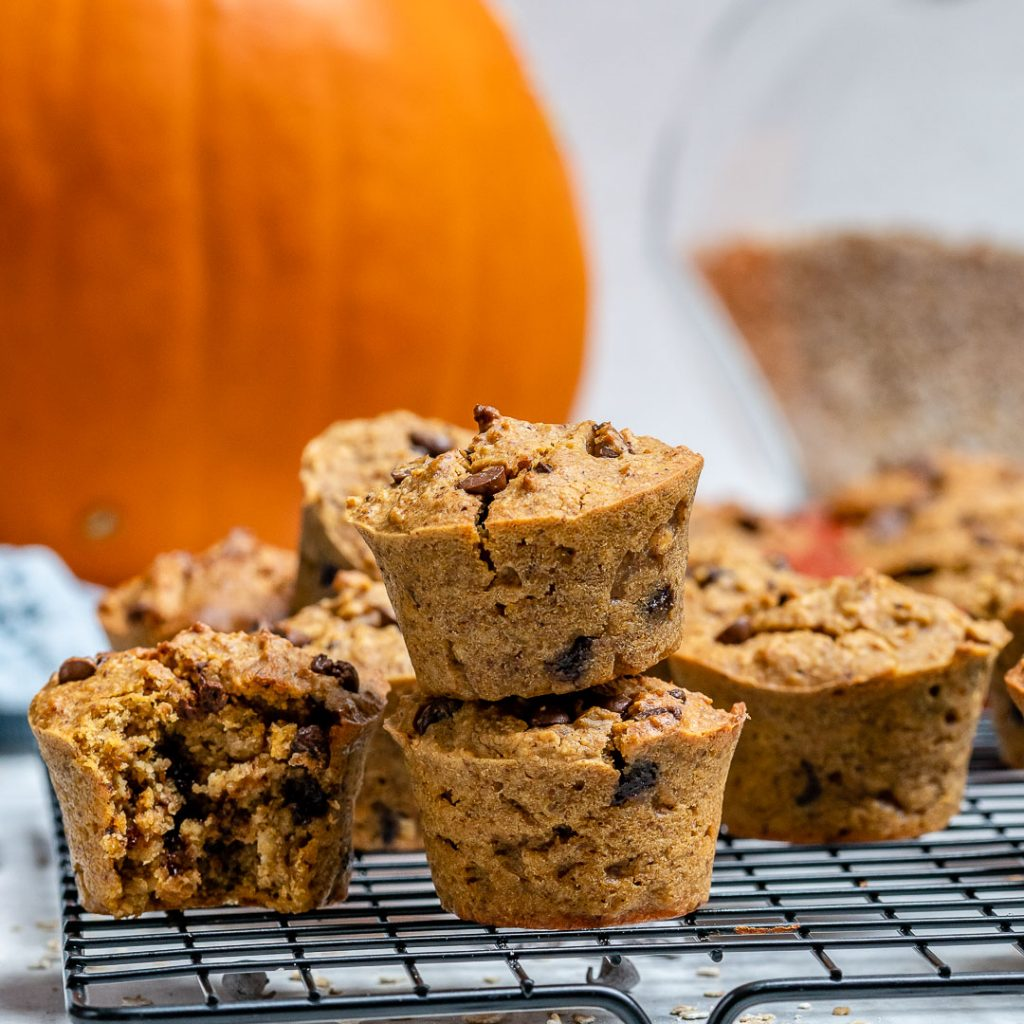 Chocolate Chip Pumpkin Spice Muffins for Healthy Holiday Treats!