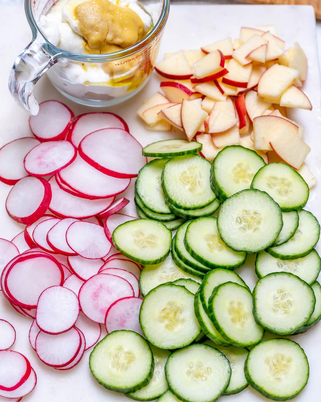 Quick & Easy Crisp Creamy Cucumber + Apple Salad!