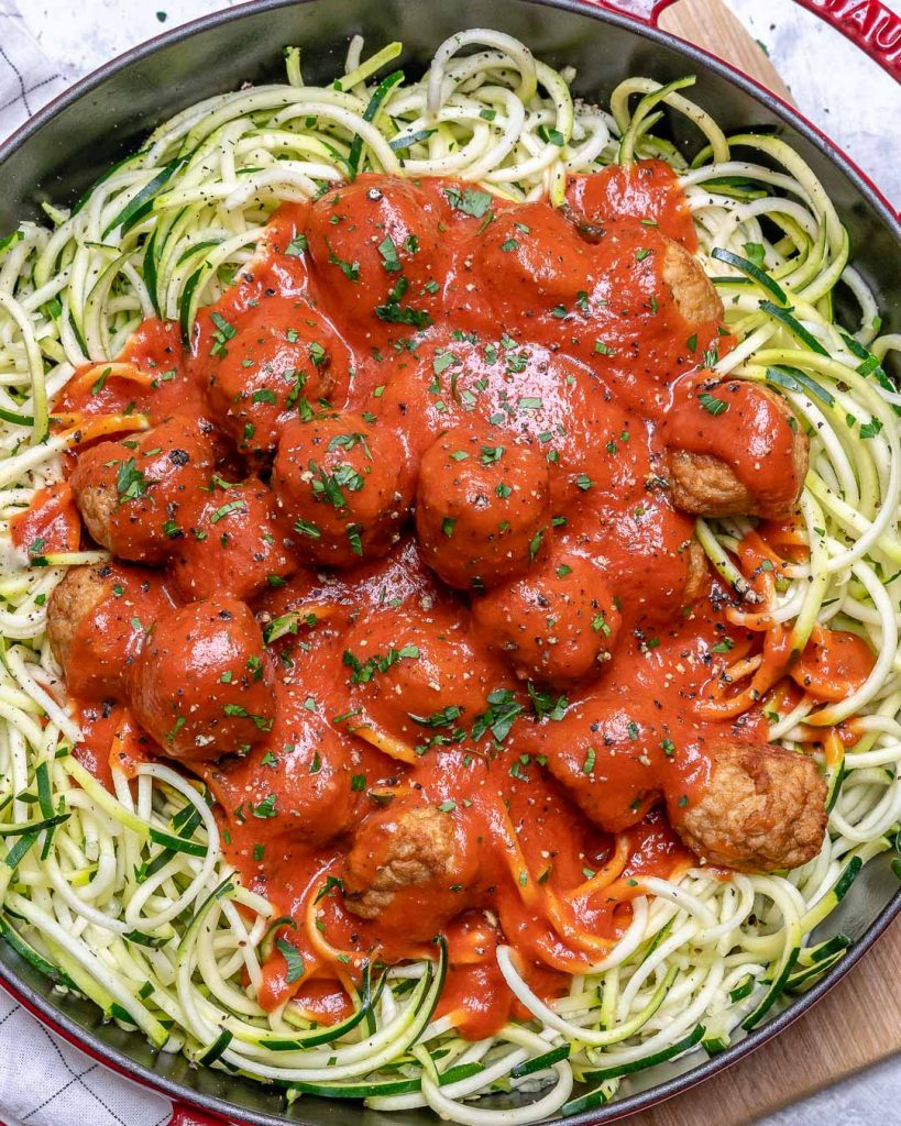 Low Carb Chicken Meatballs with Zoodles!