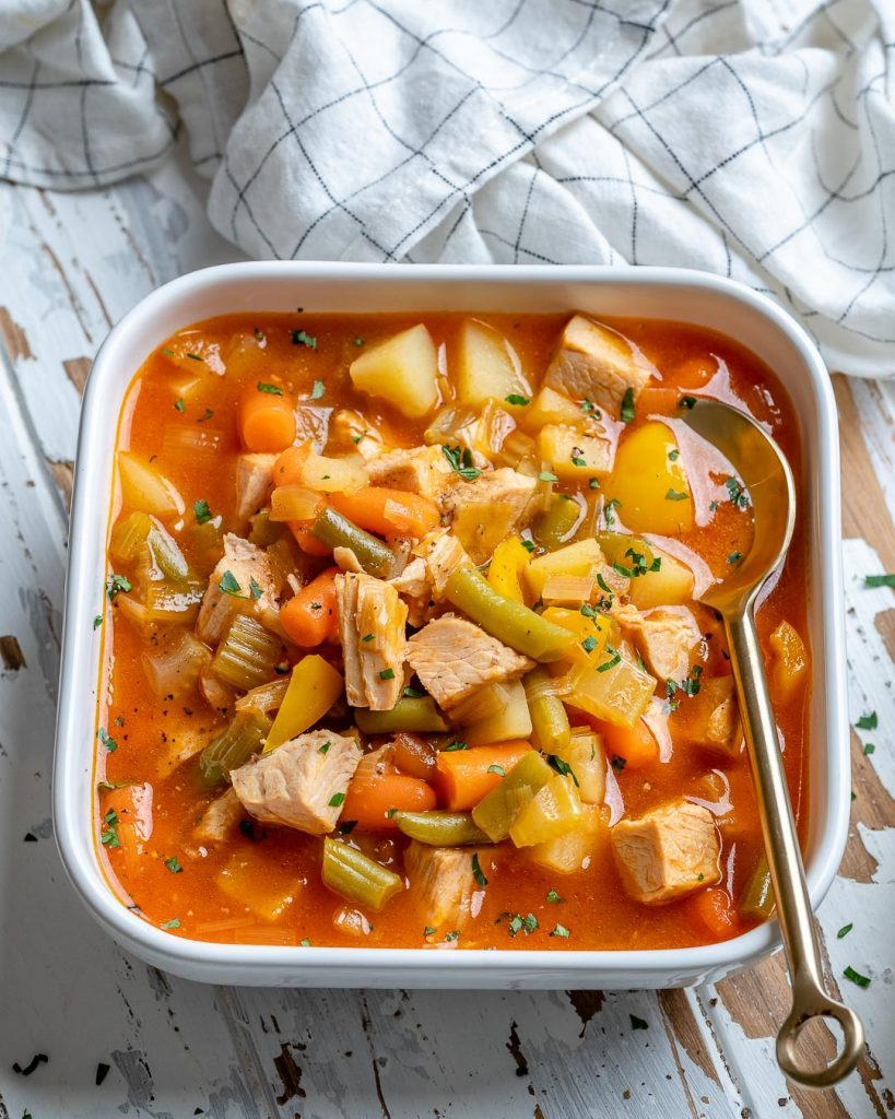 One Pot Leftover Turkey Soup