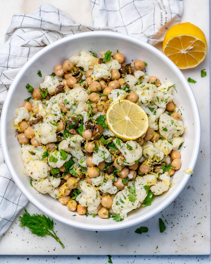 Cauliflower + Chickpeas Salad for Crunchy & Delicious Clean Eats!