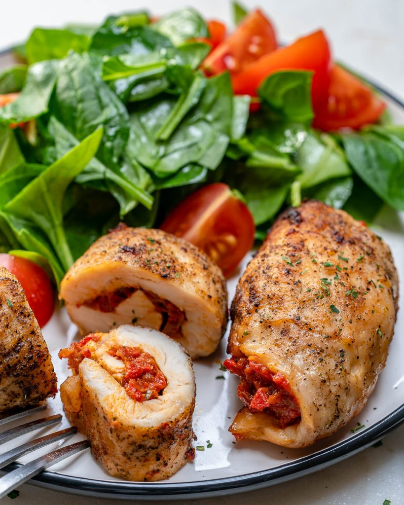 Tomato + Roasted Red Pepper Chicken Rollatini