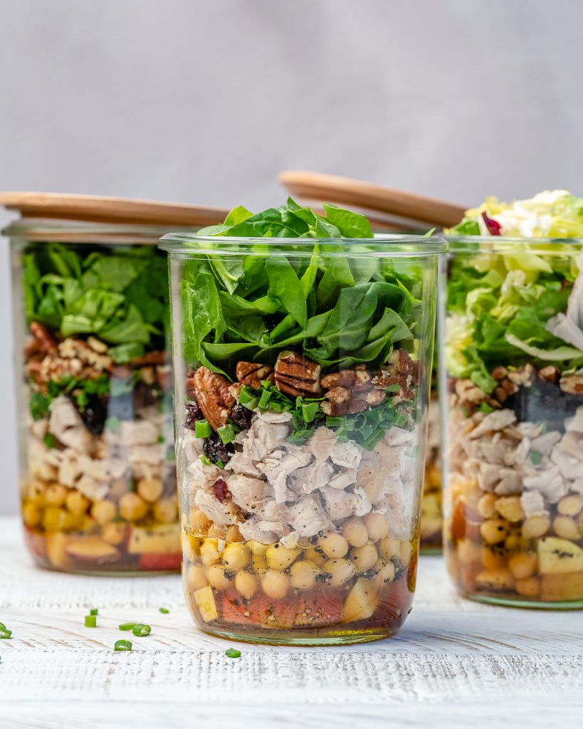 Leftover Turkey Mason Jar Salads