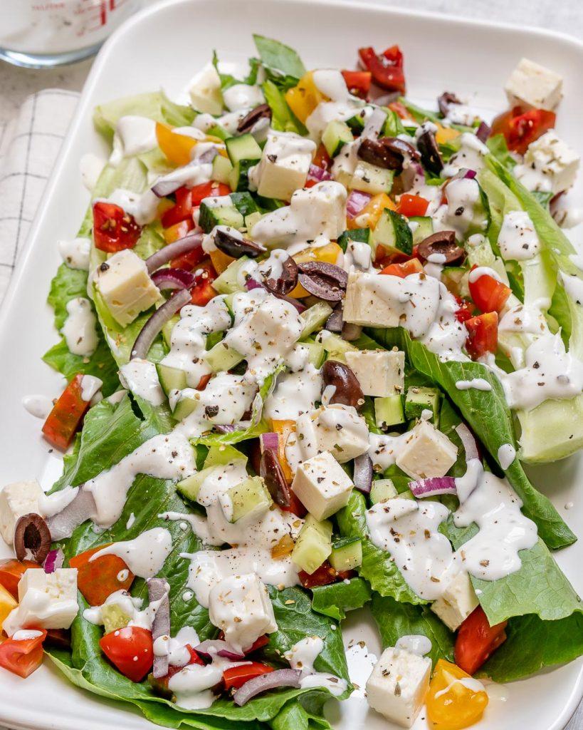 Mediterranean Wedge Salad for Beautiful Clean Eats!