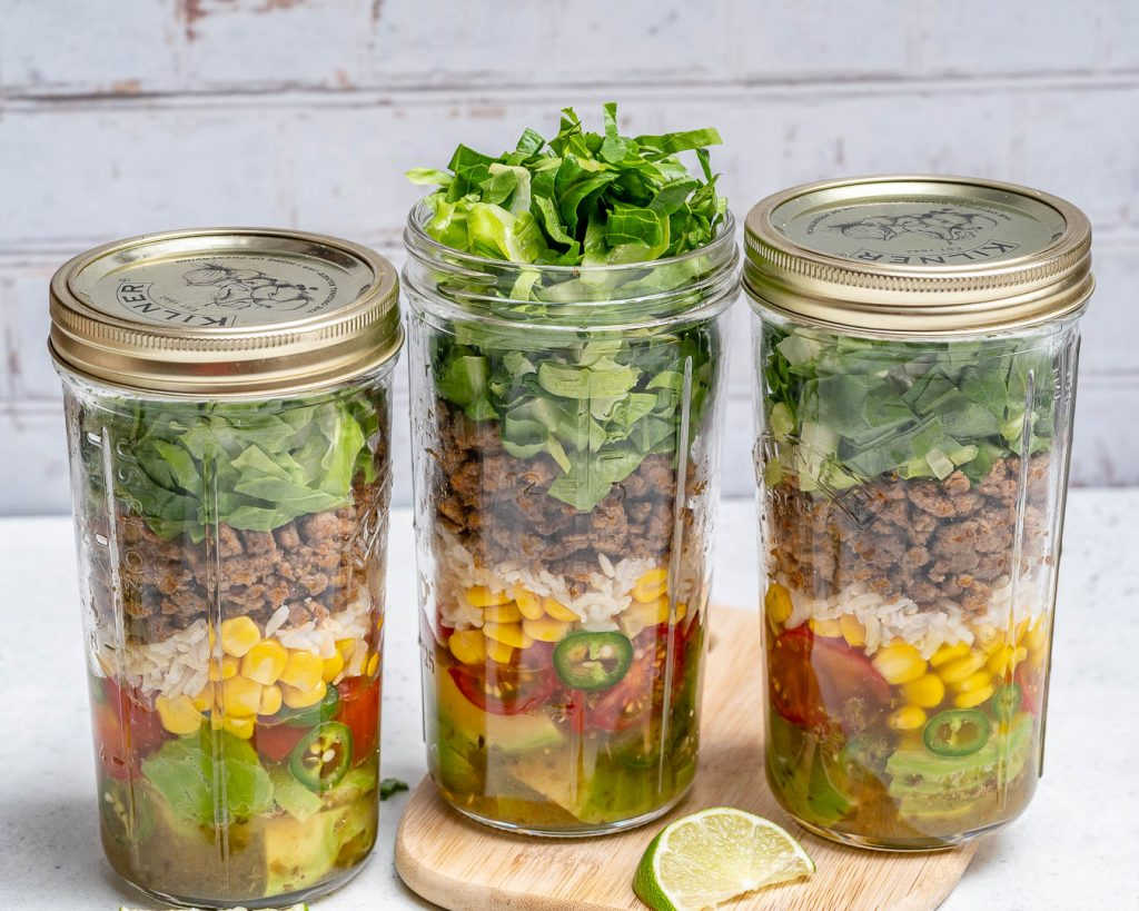 Taco Mason Jar Salads for Meal Prep