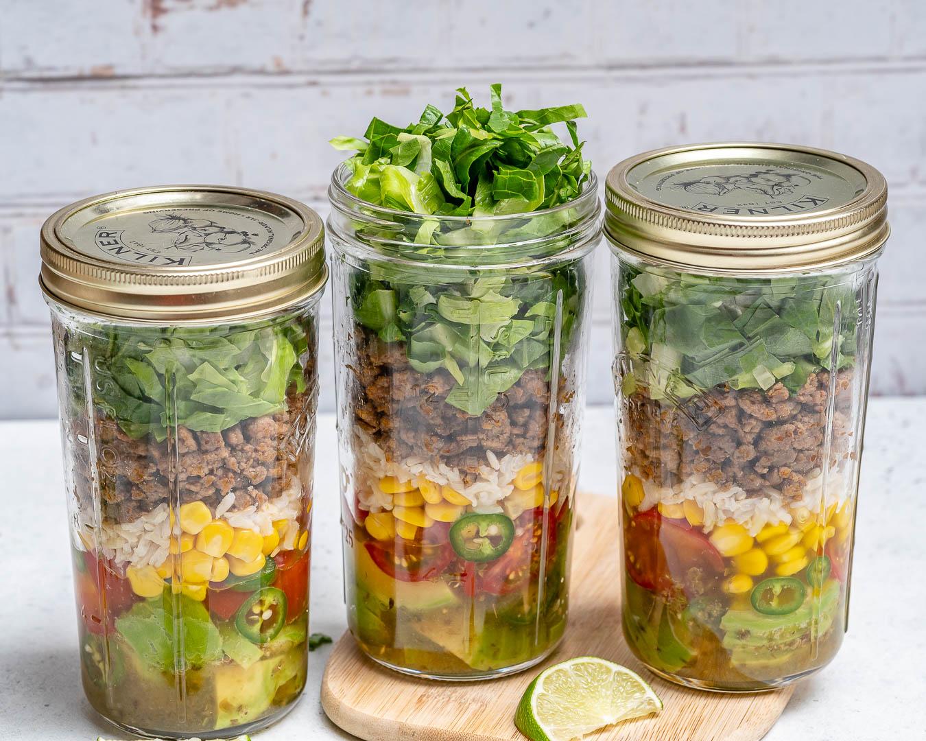 Taco Mason Jar Salads for Meal Prep