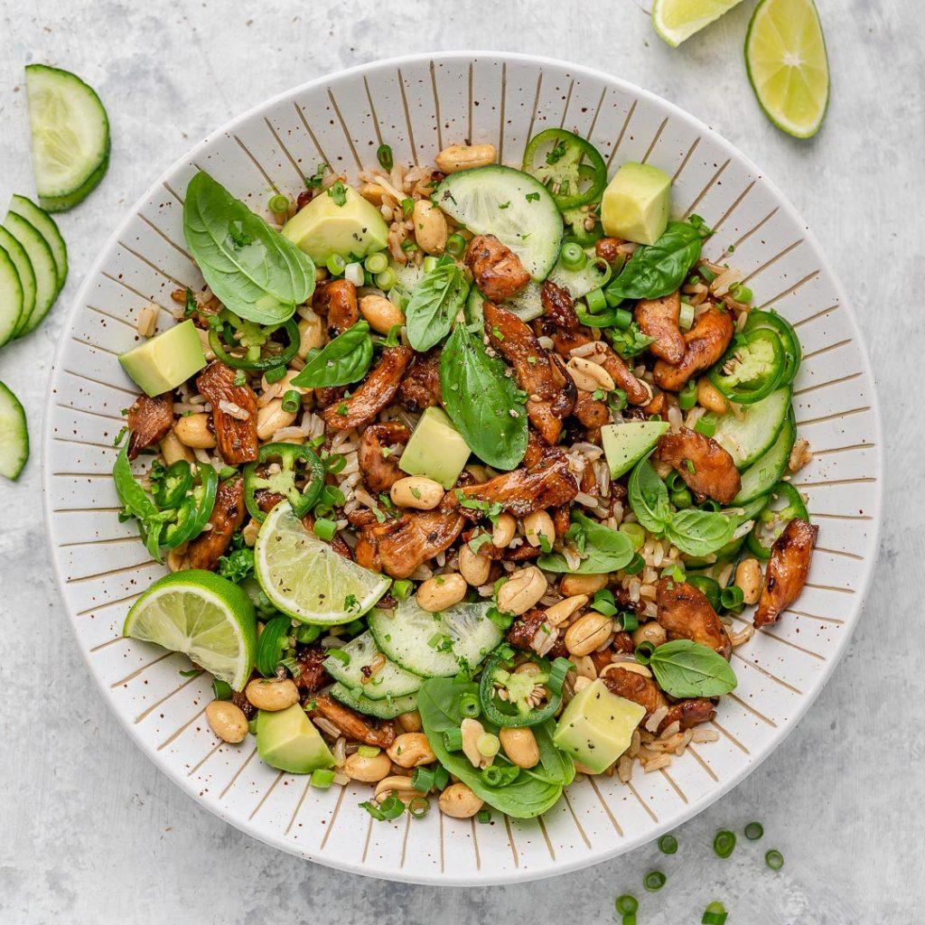 Crispy Crunchy Chicken + Rice Herb Salad