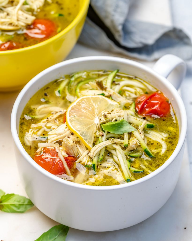 Pesto Chicken Zoodle Soup