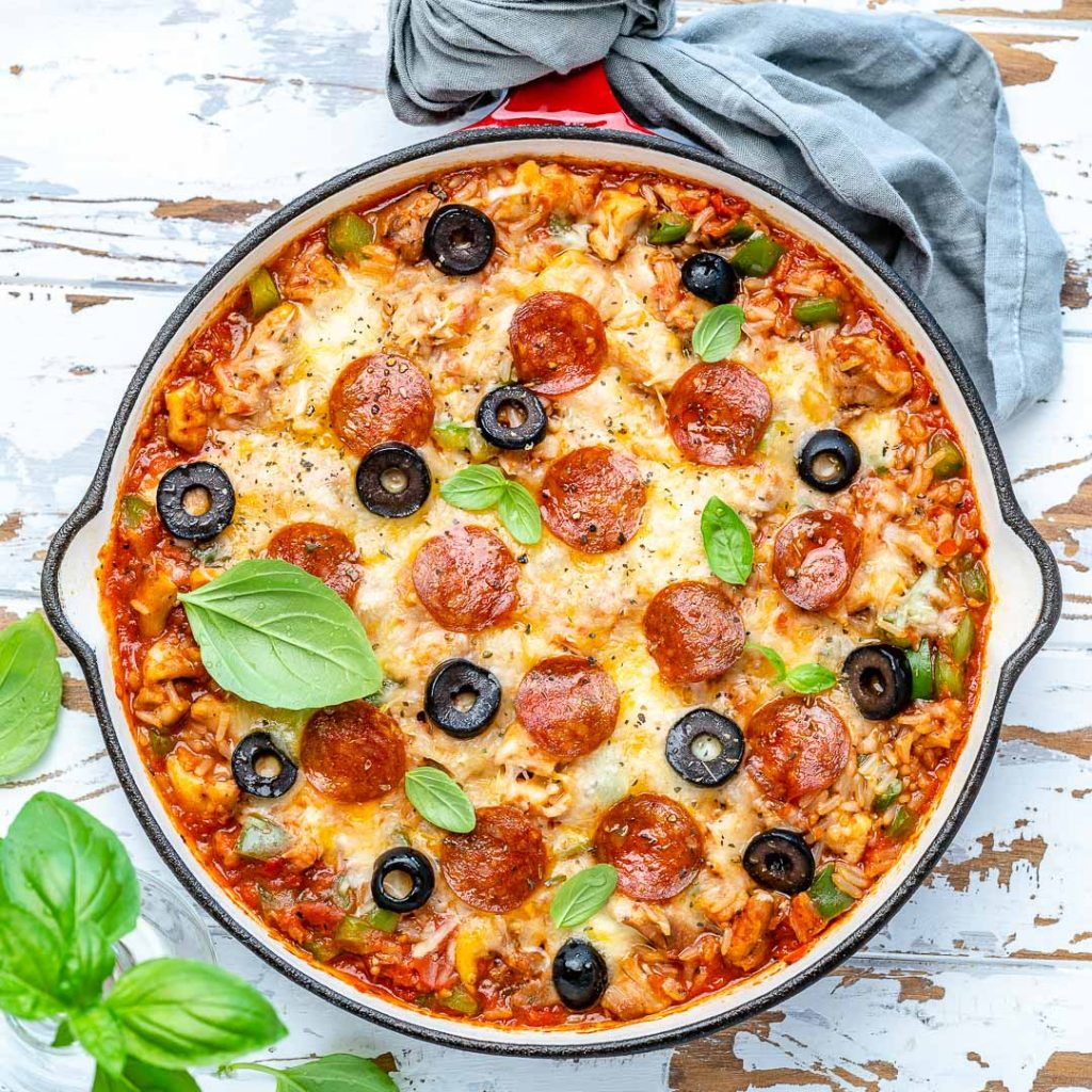 One-Pan Protein Packed Pizza Inspired Bake