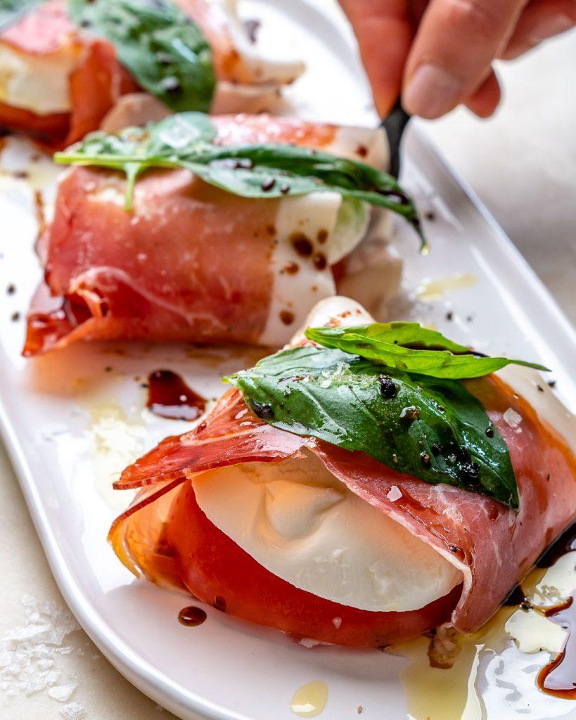 Prosciutto Wrapped Caprese Bites