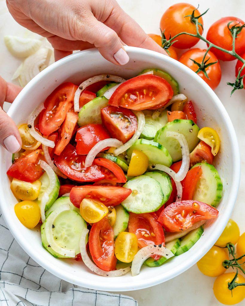Marinated Garden Tomato + Crisp Cucumber Summer Salad