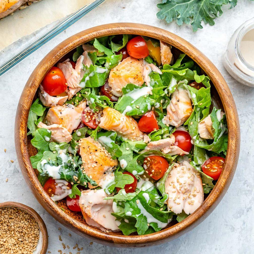 Salmon + Kale Salad with Creamy Tahini Dressing
