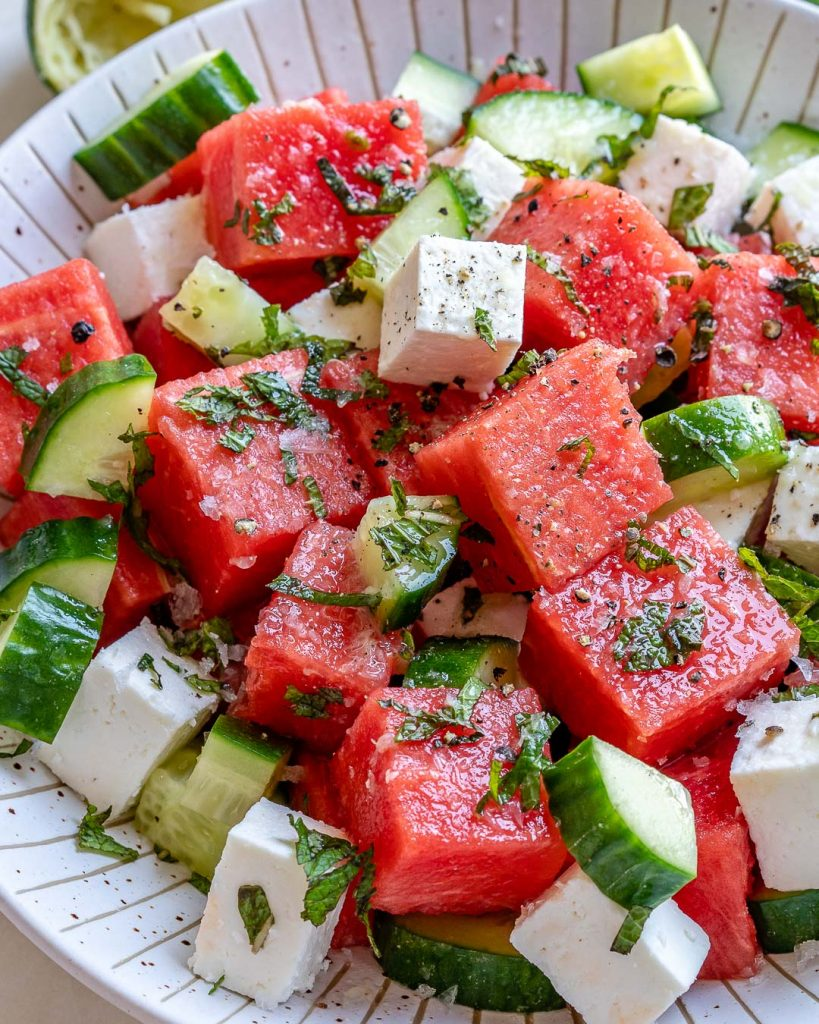 SIMPLE Watermelon + Cucumber + Feta Salad