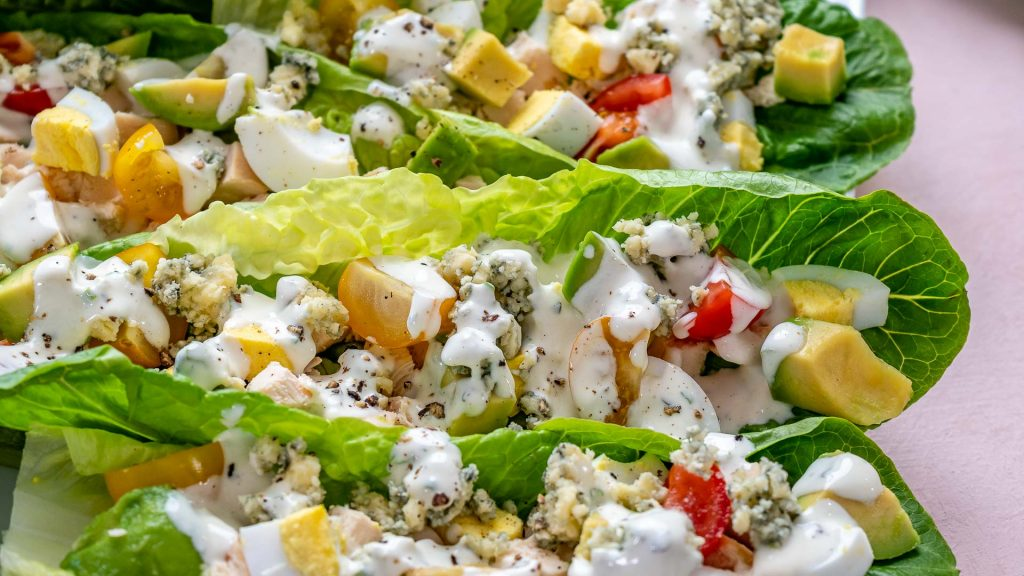 Cobb Salad Lettuce Wraps + Homemade Buttermilk Ranch