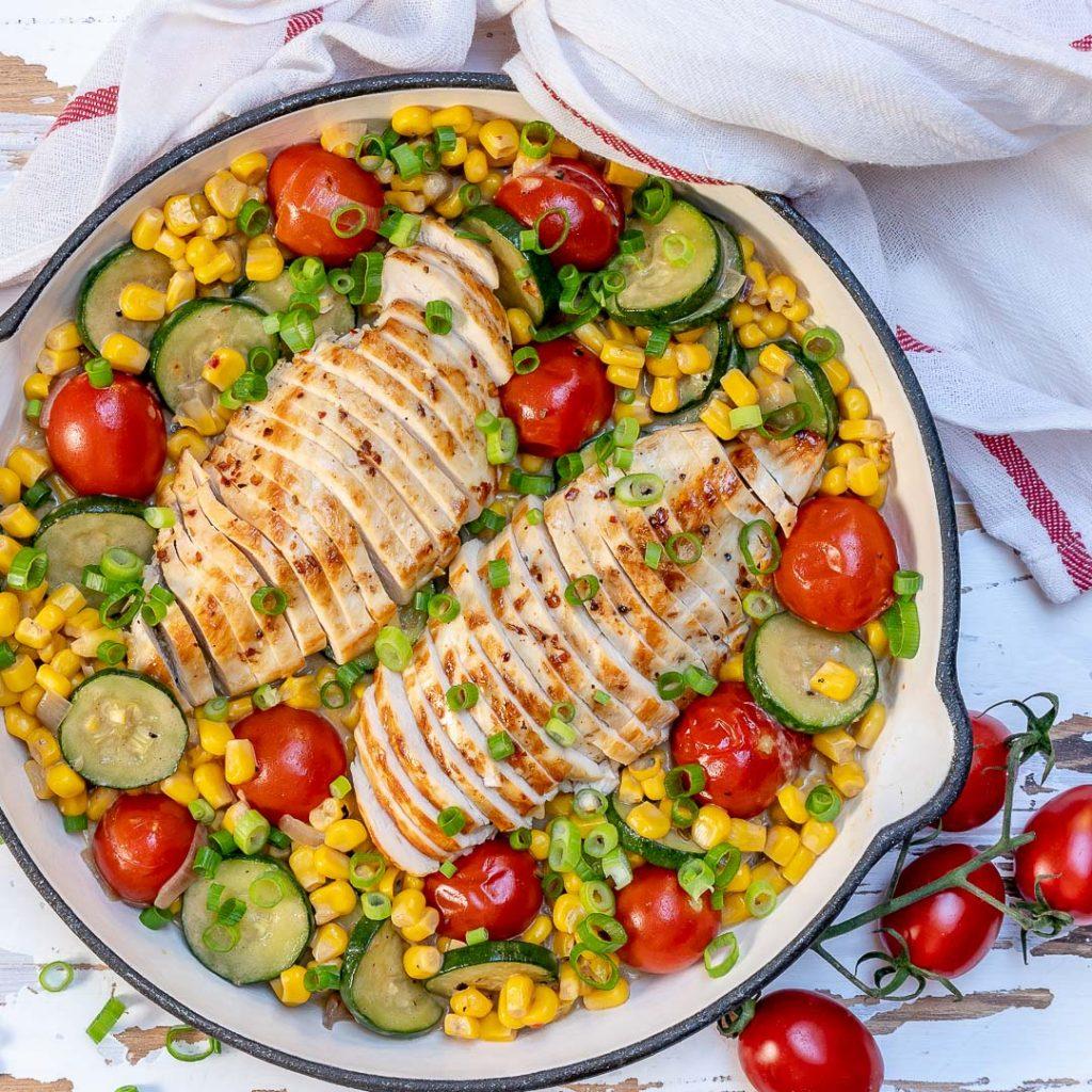 Creamy Chicken + Summer Veggie Skillet