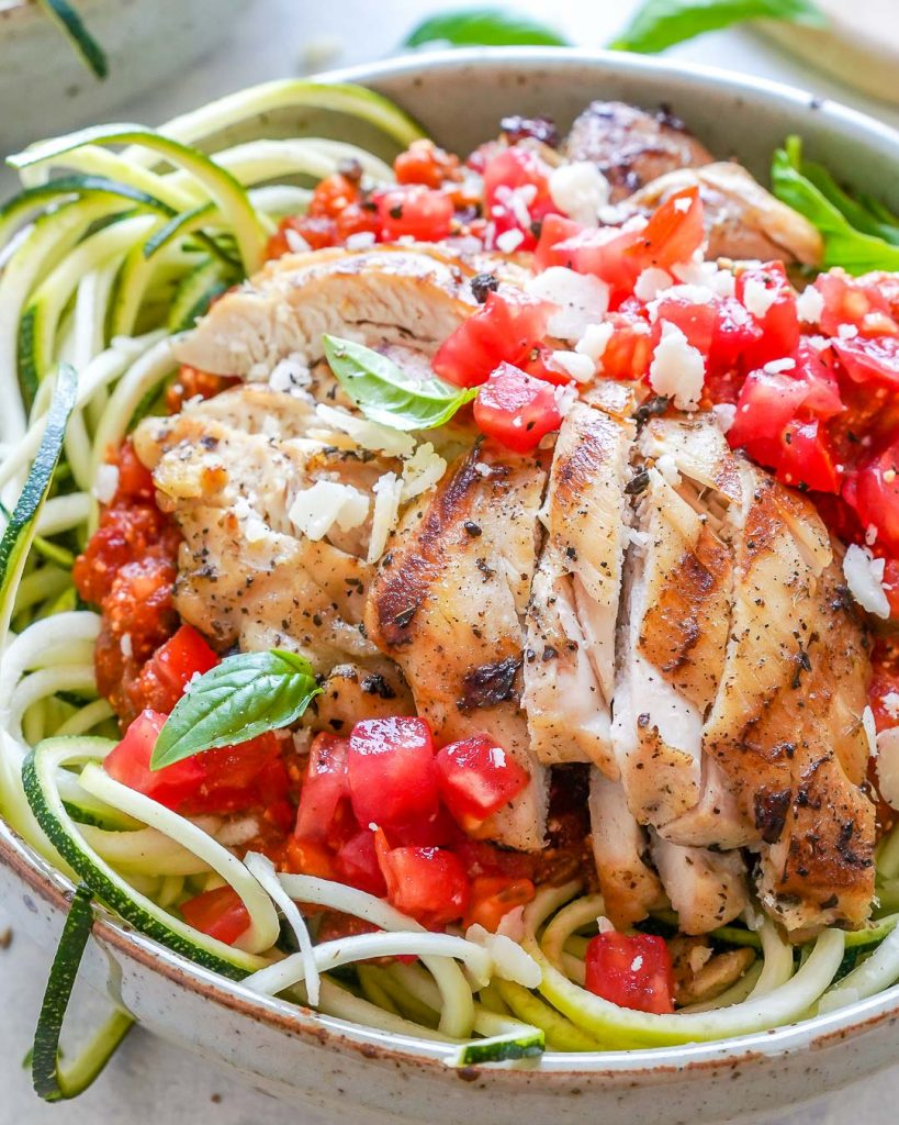 Grilled Chicken Zoodle Bowls with Tomato-Basil Sauce