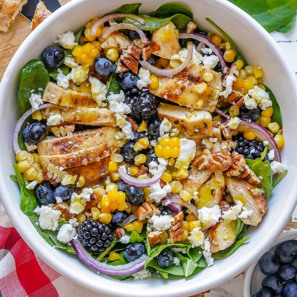 Blackberry Chicken + Spinach Salad
