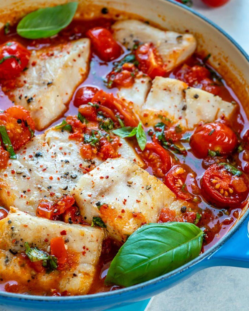 Pan-Seared Cod in Tomato + White Wine Sauce