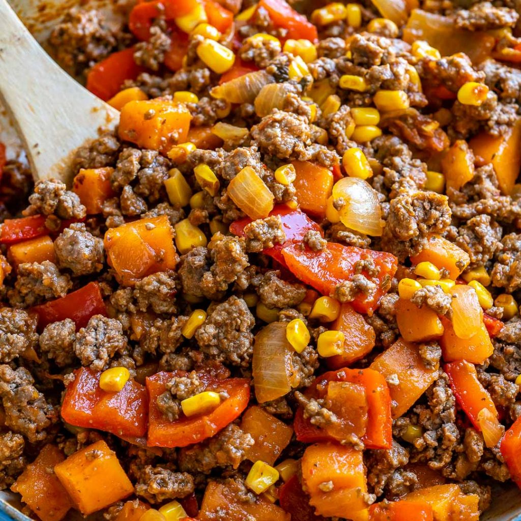 Simple Ground Beef + Sweet Potato Skillet