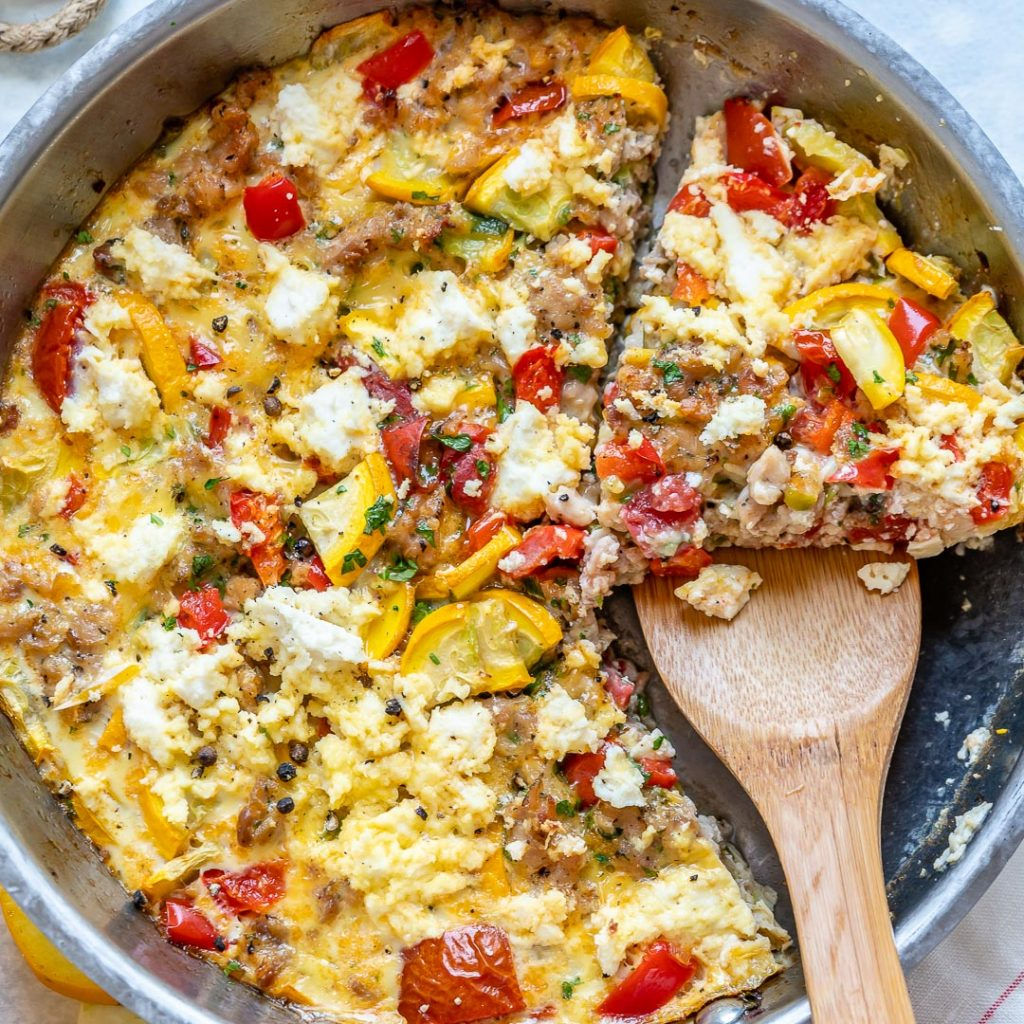 Yellow Squash Frittata with Sausage