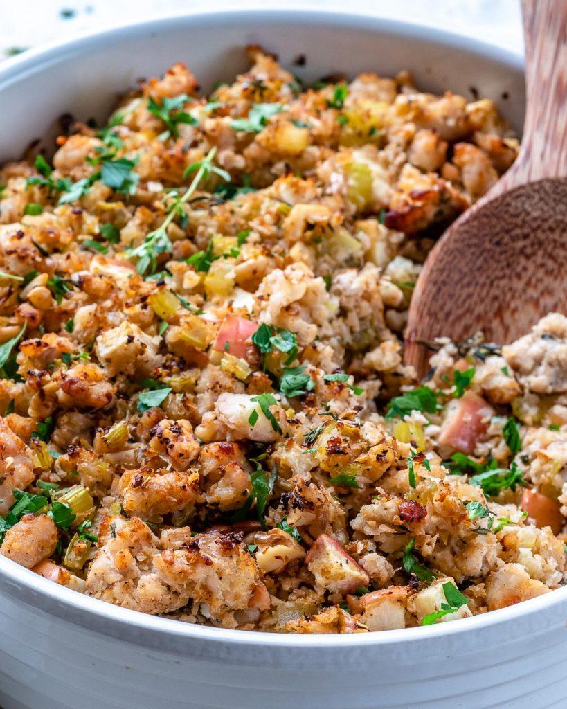 Low Carb Cauliflower + Sausage Stuffing
