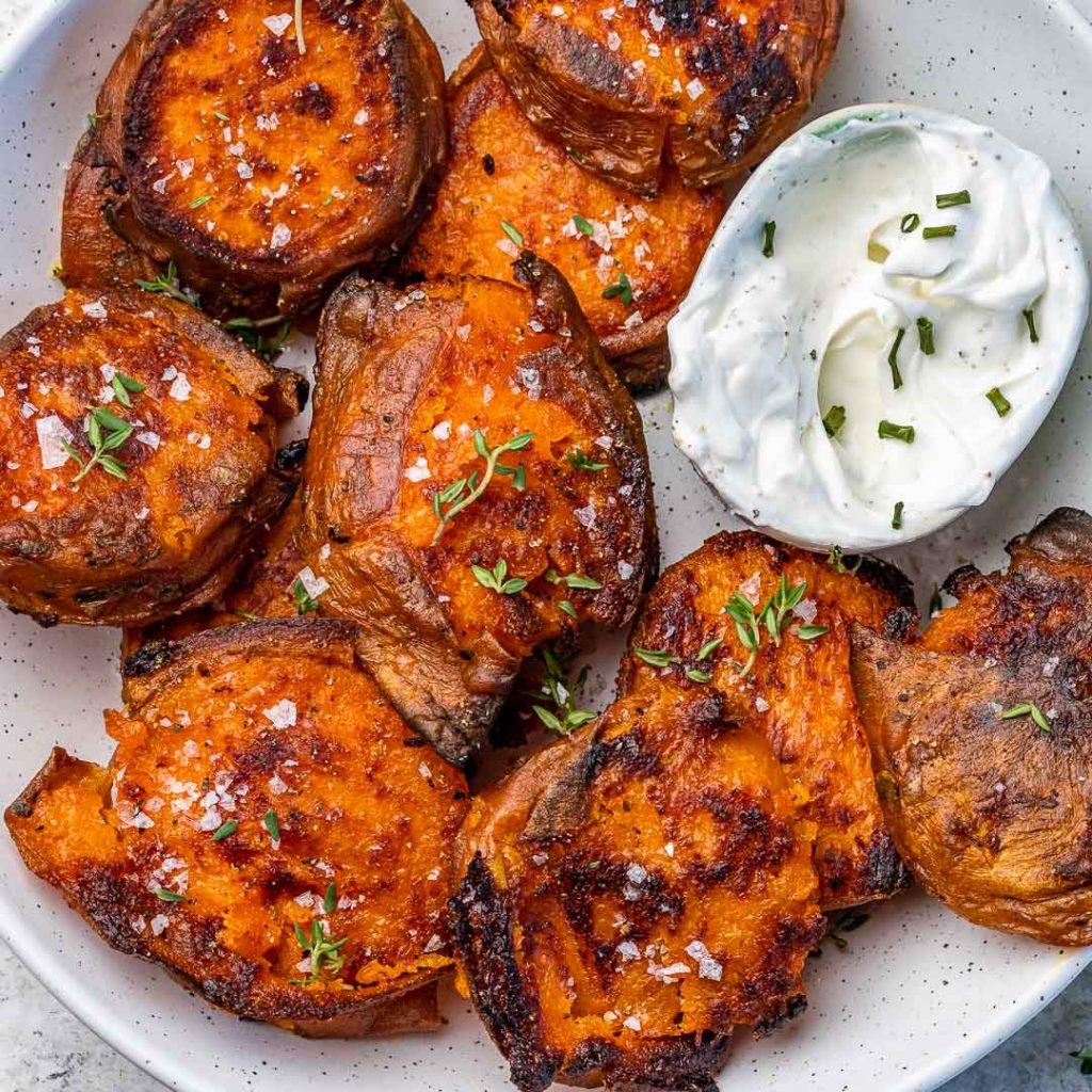 Smashed + Roasted Sweet Potatoes