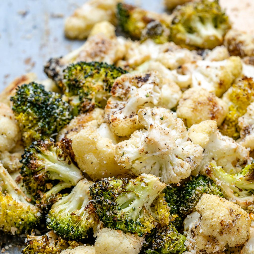 Roasted Broccoli + Cauliflower with Parmesan