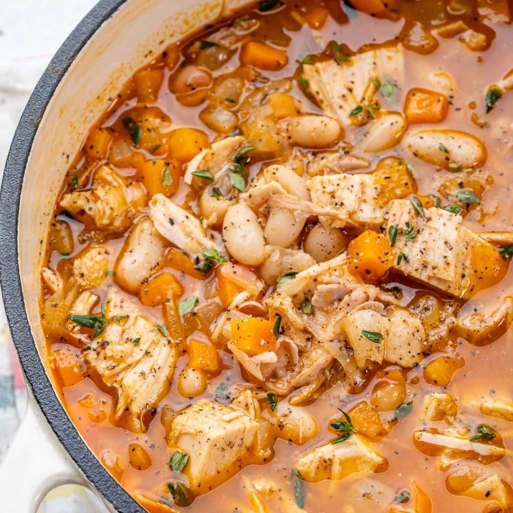 Quick Leftover Turkey + Bean Soup