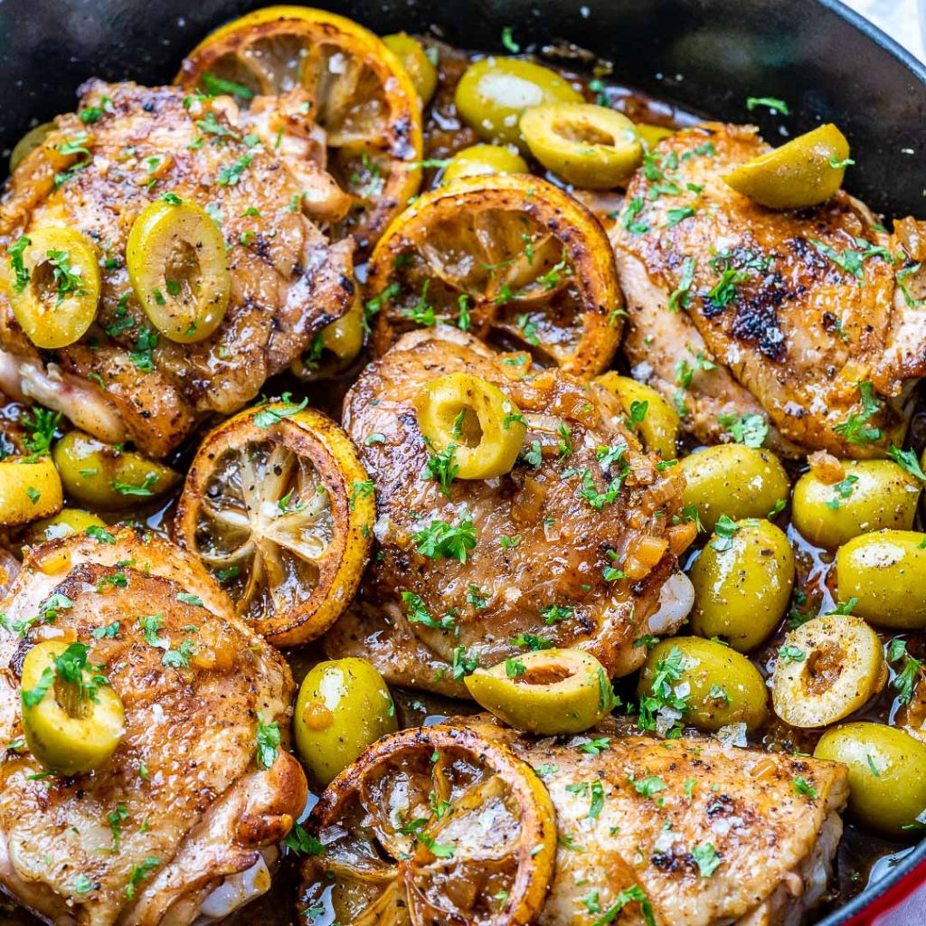 Lemony Chicken + Olives Skillet